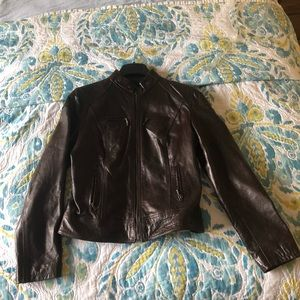 Jackets & Blazers - Chocolate Leather Jacket. REAL LEATHER